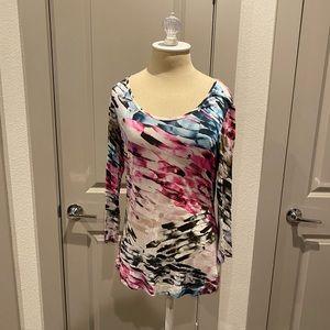 Multicolored 3 quarter sleeve top